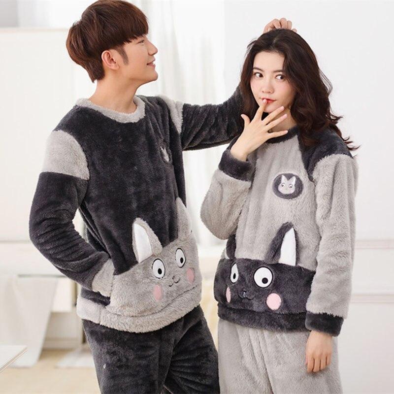 Cute Animal Flannel Pattern Winter Couples Pajamas Set For Women Men Plush Fabric  Sleepwear Pyjamas Suit Home Clothing -in Men s Pajama Sets from Underwear  ... 065b26943