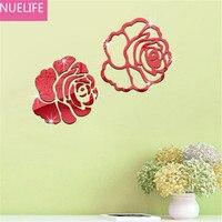 2pcs 3D acrylic rose flower pattern mirror wall sticker wedding room living room TV sofa background decoration wall sticker N1