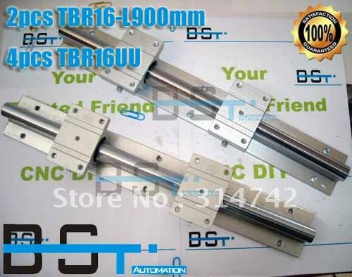 Поддержка линейные рельсы сборки 2 шт. TBR16-900 мм с 4 шт. TBR16UU подшипника