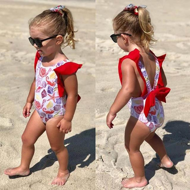 Infant Kids Baby Girls Lovely Backless Swimwear Swimsuit with Bowknot