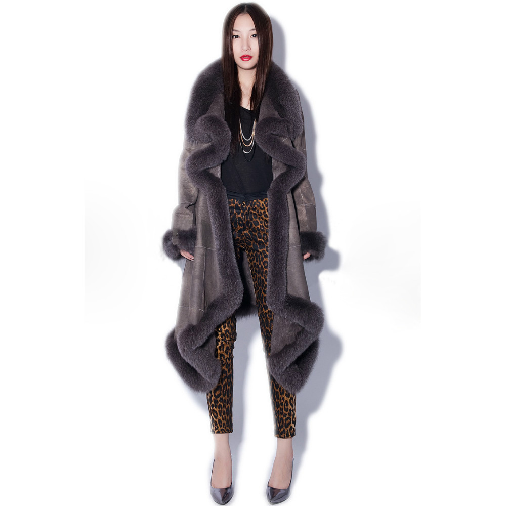 Long leather coat with fox trim