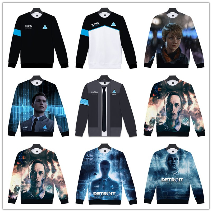 3D Detroit: Become Human Hoodies Men's Harajuku Hip Hop Pullovers Punk Style Winter Capless Sweatshirts Hot Play Game Detroit