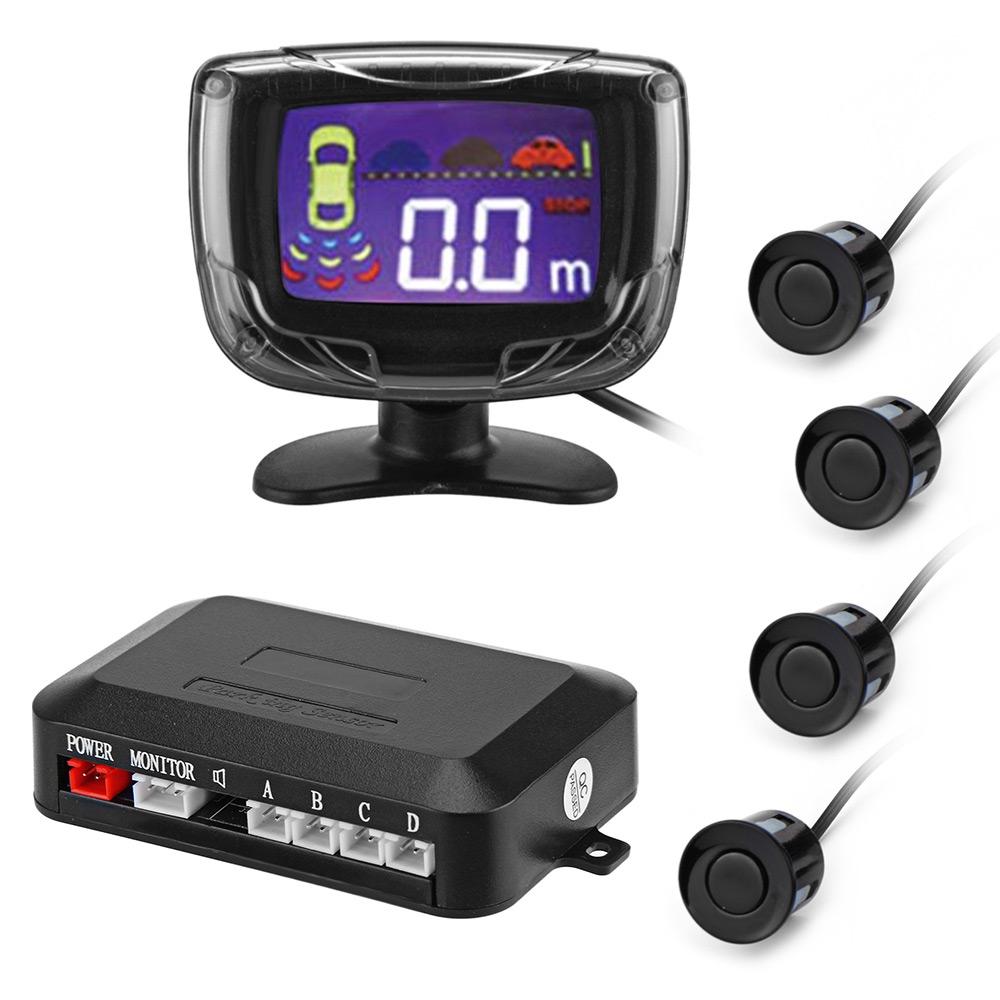 Prix pour Capteur de Stationnement de voiture De Sauvegarde N ° Vue Arrière Radar Système D'alarme Alerte LCD affichage 4 Capteurs de Stationnement Radar Moniteur Parking Système