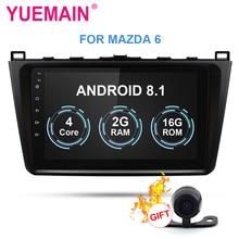 YUEMAIN автомобильный Радио мультимедийный плеер для Mazda 6 2008-2015 Android 8,1 автомобильное радио с gps навигационное Видео FM/AM USB камера-видеорегистратор OBD