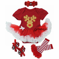 New Year Baby Christmas Clothes Sets Reindeer Suit Clothing Set Newborn Baby Girl Rompers Dress Christmas