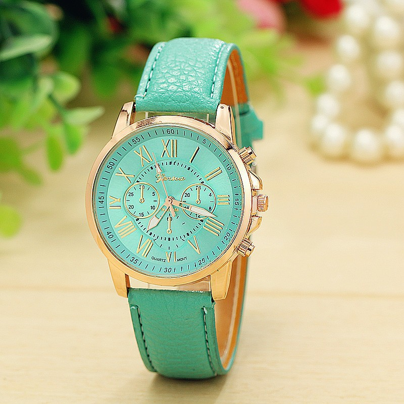 New Fashion Women Watch Geneva Rose Gold Roman Numerals Leather Quartz Watch Ladies Dress Wristwatch Relogio Feminino Clock women fashion watches rose gold rhinestone leather strap ladies watch analog quartz wristwatch clocks hour gift relogio feminino