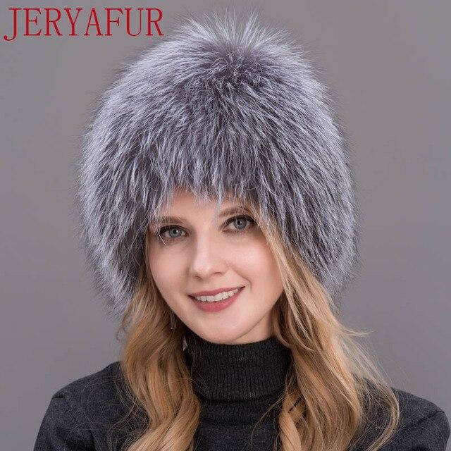 d9cefe305 Winter lady fur cap real fox fur hat knitting silver fox fur cap female  Russian woman bomer hat