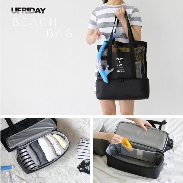 Ufriday Mesh Beach Tote Bags 2 In 1 Bottom Cooler Bag Large Travel Picnic Food Drink