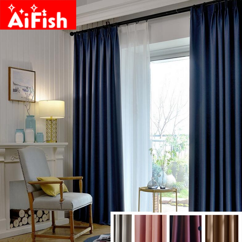 High Precision Modern Solid Window Fabrics For Living Room Thermal Insulation Full Shade Cloth Curtains For Bedroom MY104-30