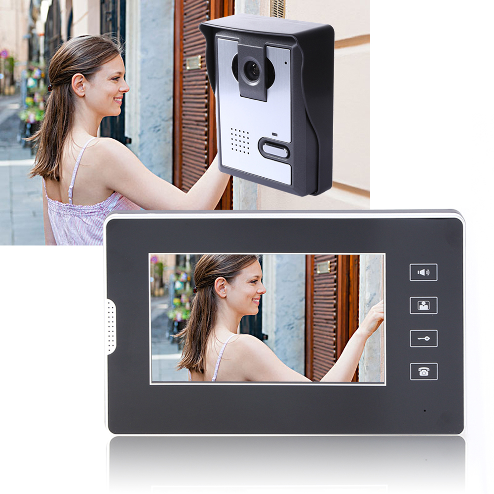 New High-definition 700TVL 7inch colorful Video LCD Door Phone Visual Intercom Doorbell Kit Home Security System Indoor Monitor 7 inch wired high definition swipe card embedded installation video doorbell