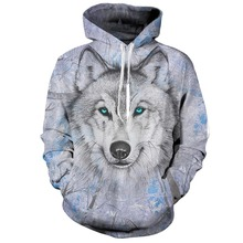 Lively Wolf Hoodies Streetwear Sweatshirt Casual Hoody Men 3D Pullover Harajuku Tracksuit Male HipHop DropShip