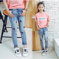 2016 New Cute Cartoon Pattern Kids Jeans Spring Autumn High Quality Children Pants Cherry Printed Stretch