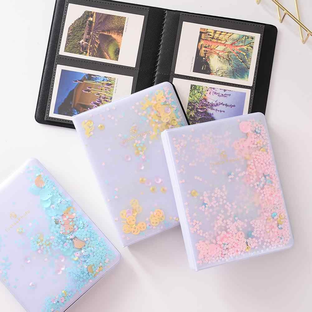 32/64 Photos Quicksand Sequin PVC Photo Book Album for Instant Polaroid Fujifilm Instax Mini Film Set Photo Album Nice Gift Case