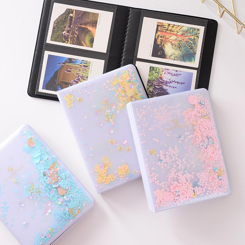 32/64 Photos Quicksand Sequin PVC Photo Book Album for Instant Polaroid Fujifilm Instax Mini Film Set Photo Album Nice Gift Case