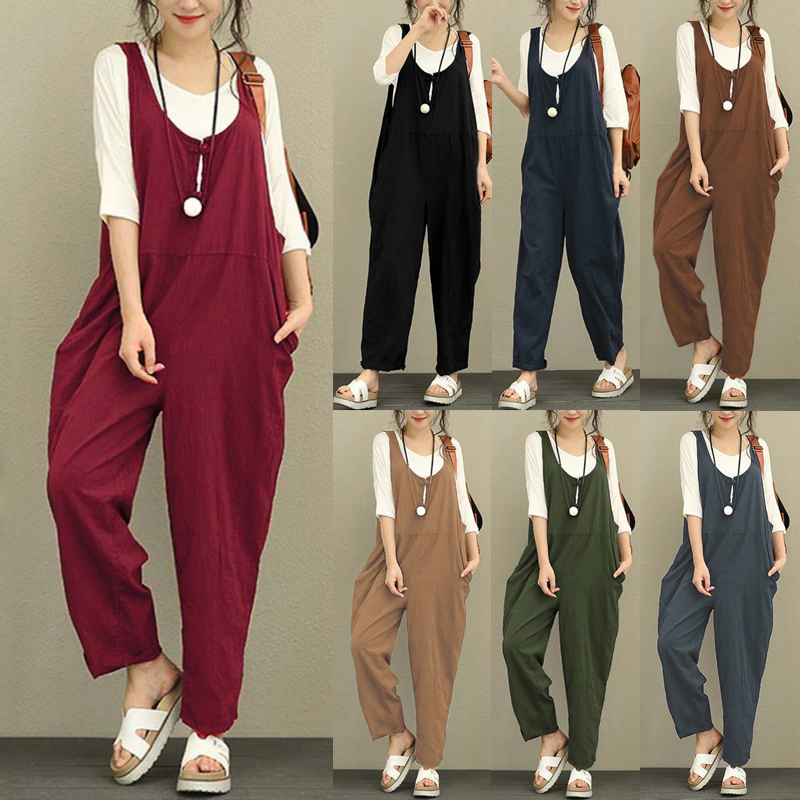 Romacci Sexy Women Summer Cotton Linen Rompers Jumpsuits Vintage Sleeveless Backless Overalls Strapless 5XL Plus Size Playsuit 4