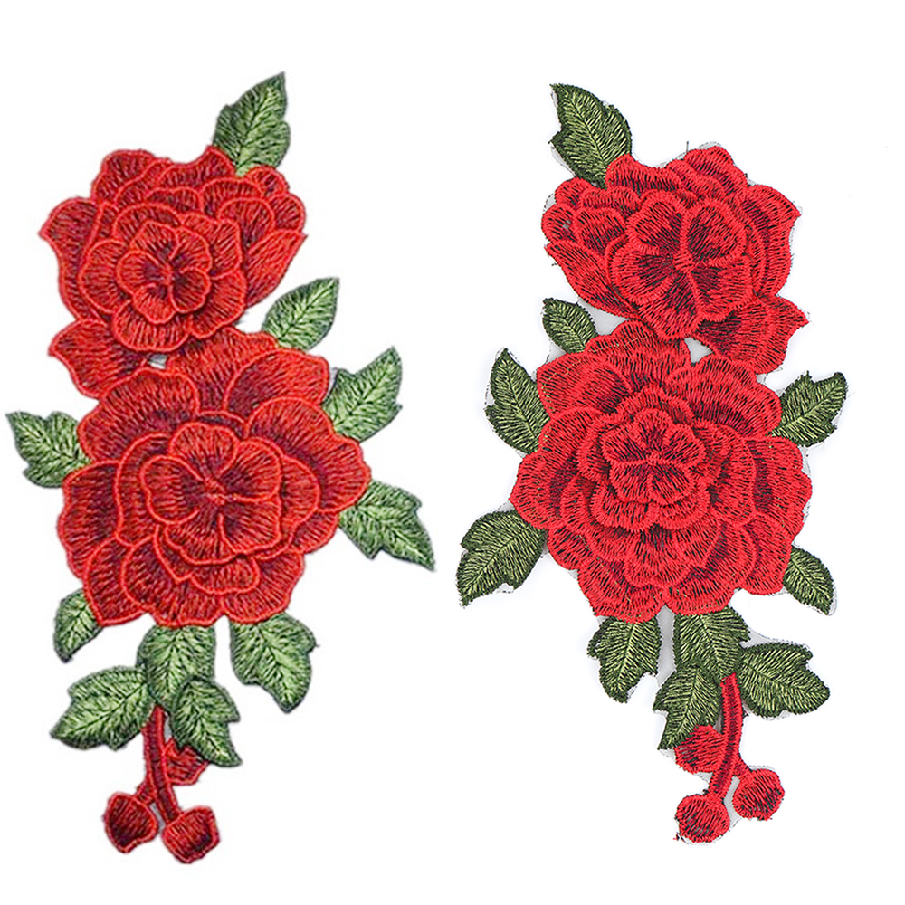 Aliexpress buy red rose embroidered sewing on patch