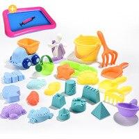 Zachte Siliconen strand speelgoed voor kinderen Zandbak Set Kit Zee zand emmer Hark Zandloper Water Tafel spelen en plezier Schop mold zomer 4