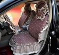 Universal Cotton Apple flower Print lace Auto Car Seat Cover 19pcs Sets - Coffee