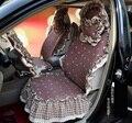 Universal algodón de Apple estampado de flores de encaje Auto Car Seat Cover 19 unids conjuntos - café
