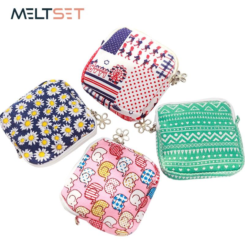 Мультфильм шаблон гигиеническая салфетка сумка мини мешочек маленький Для женщин мешок хлопка девушка гигиенических прокладок сумка для х... ...