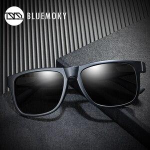 Image 2 - BLUEMOKY Square Black Sun Glasses for Men UV400 Polarized Brand Designer Sunglasses Men Driving Polaroid Shades for Men 2019