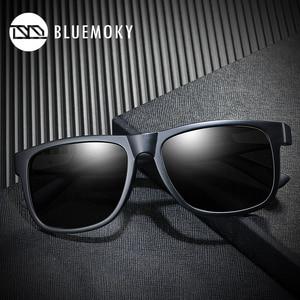 Image 2 - BLUEMOKY مربع أسود نظارات شمسية للرجال UV400 الاستقطاب العلامة التجارية مصمم النظارات الشمسية الرجال القيادة بولارويد ظلال للرجال 2019