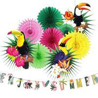 Набор украшений тропических Гавайских вечеринок 2020, наслаждайтесь летним баннером, бумажный Комплект вентиляторов, листья тукана для лета,...