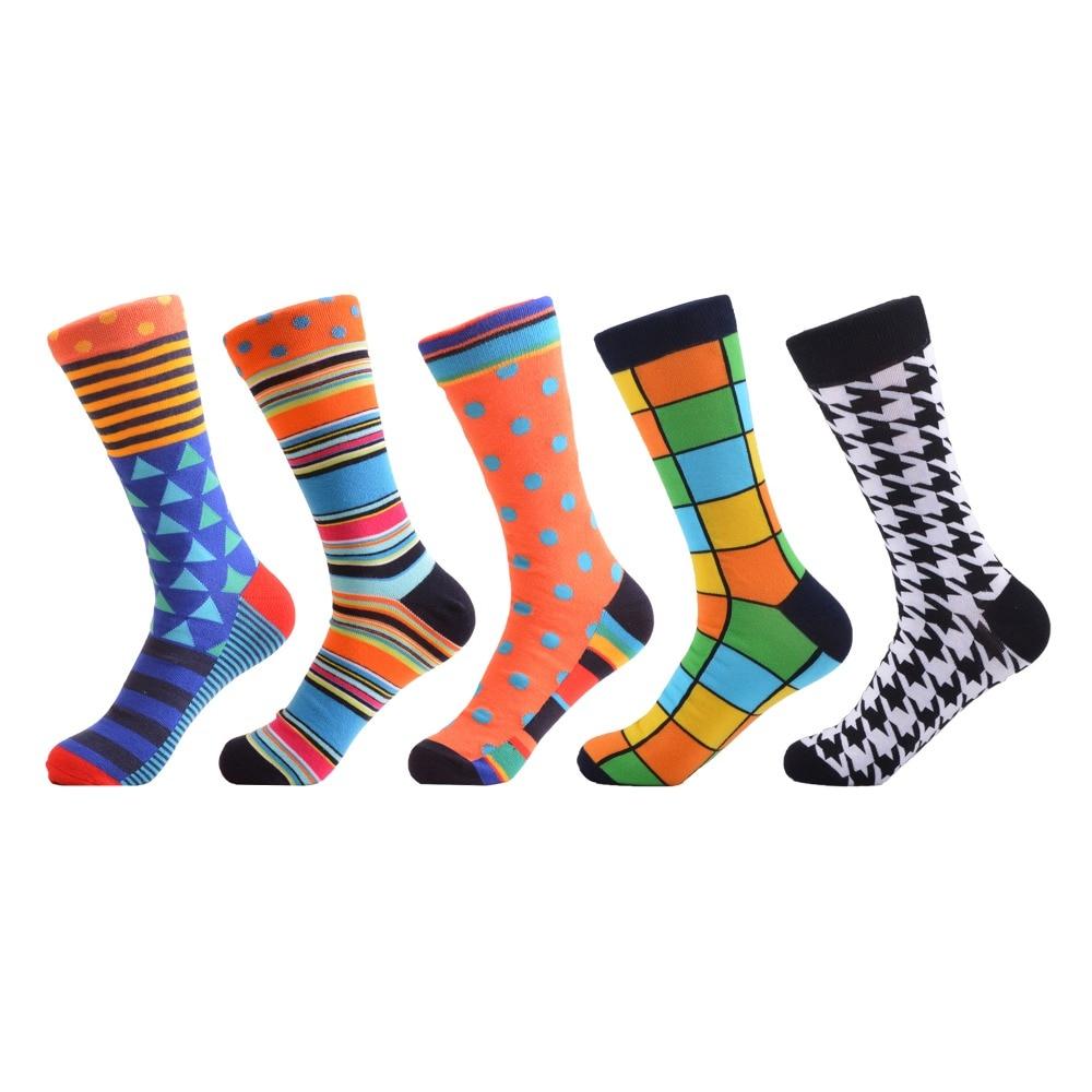 SANZETTI 5 pair/lot Design   Socks   Oil Painting Combed Cotton Brand Harajuku Men   Socks   Colorful Dress knit Crew Long Funny   Socks