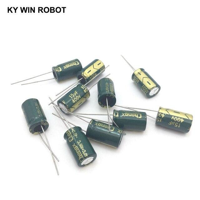 10 шт. алюминиевый электролитический конденсатор 15 мкФ 400 в 10*17 мм frekuensi tinggi, радиальный электролитический конденсатор