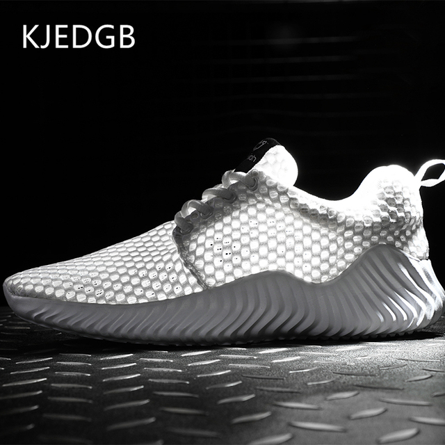 KJEDGB Ultralight Breathable Men Casual Shoes Summer Solid Black White Gray Mesh Soft Sneakers Big Size 39-47 Adult Male Tennis