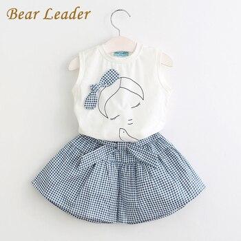 Bear Leader Girls Clothing Sets 2017 Brand Summer Style Kids Clothing Sets Sleeveless White T-shirt+Plaid Culottes 2Pc Girl Suit conjuntos casuales para niñas