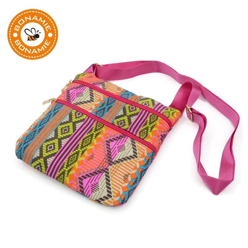 BONAMIE New National Small Crochet Crossbody Messenger Bag For Women Design Phone Bag Female Casual Canvas Bohemian Shoulder Bag casual aquarius print and canvas design shoulder bag for women