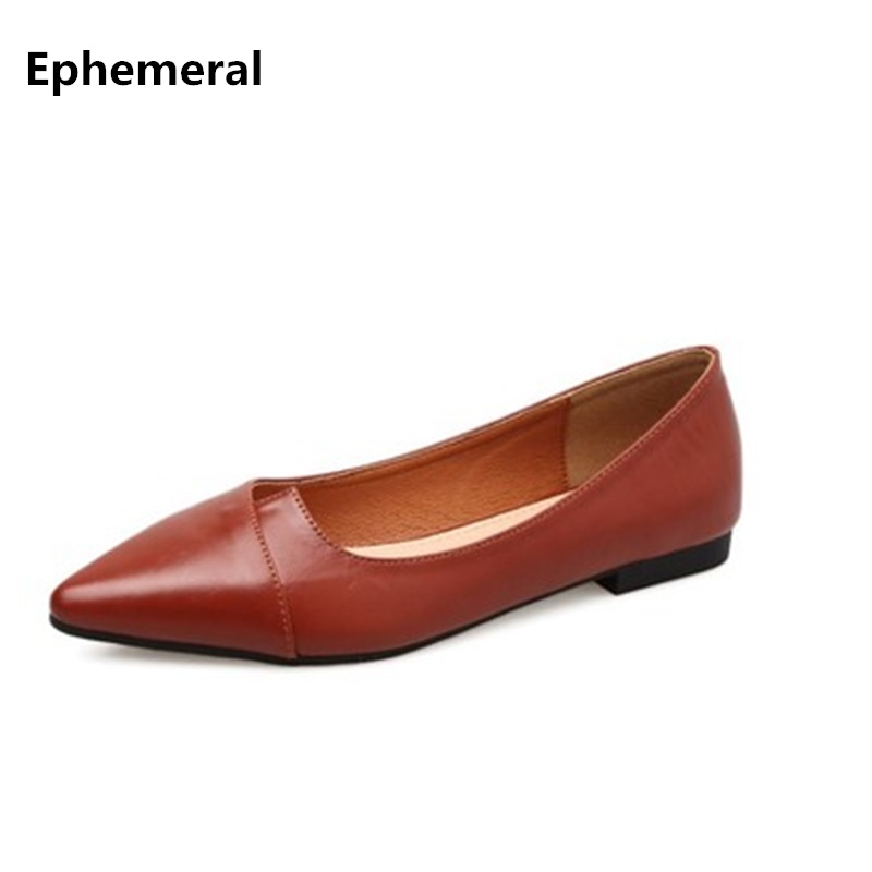 475697281e9d1 Ladies Elegant Cow Leather Soft Flats OL Big size 44 34 12 Real Shoes  pointed toe
