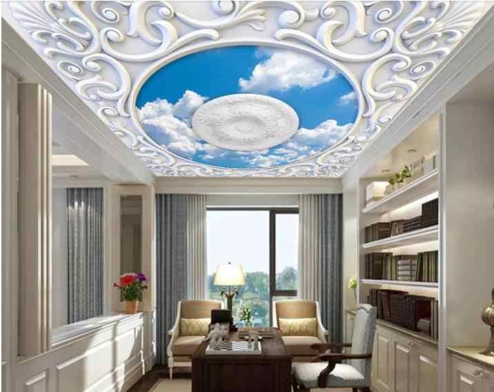 Голубое небо и белые облака 3D потолочная Фреска гостиная отель обои для стен 3d обои на потолок для детской комнаты