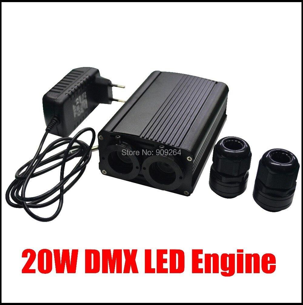 New 20W DMX led optic fiber light engine,AC110V or AC240V led illuminator for DIY lights  new dmx led optic fiber light engine ac110v or ac240v double ports led illuminator for diy lights