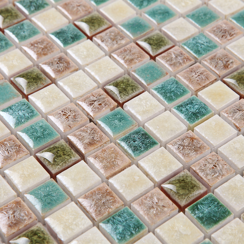 Green White Kiln Polished Porcelain Ceramic Tiles Mosaic Hmcm1045