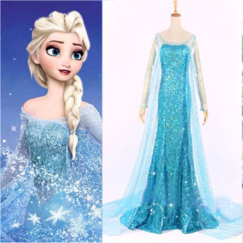 2019 New Elsa <font><b>Dresses</b></font> For Girls Princess Anna Elsa Costumes Party Cosplay Elza Vestidos Hair Accessory Set Clothing image