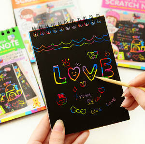 DIY scratch notebook black cardboard for kids stationery