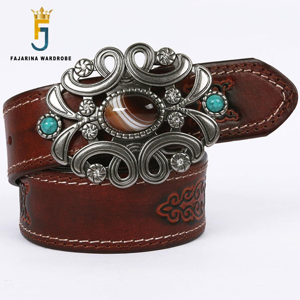 FAJARINA Unisex Unique Design Personality Agate Stone Decorative Buckle Metal Belts Quality Cowhide Leather Accessories N17FJ545
