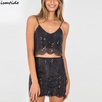 Summer Two Piece Sets 2 Piece Set Women Deep V Backless Sequins Set Sequined Crop Tops