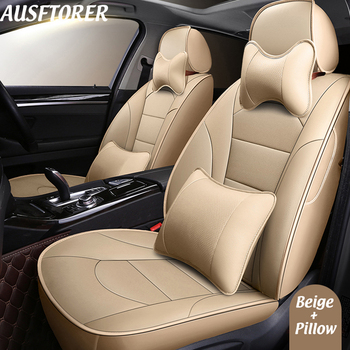 AUSFTORER Cowhide Cover Seat for Lexus RC300h RC300 RC200t Automobiles Seat Covers Leather Car Seats Cushion Support Accessories