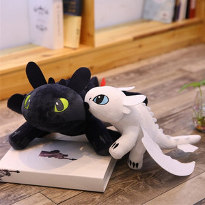22-60cm Giant Movie Doll Night Fury Light Fury Plush Toy How to Train Your Dragon Toothless Dragon Stuffed Anime Doll for Kids