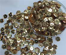 Free shipping  30g(1000pcs)wholesale 8mm Cup Round Light Gold color loose sequins Paillettes sewing Wedding craft DIY