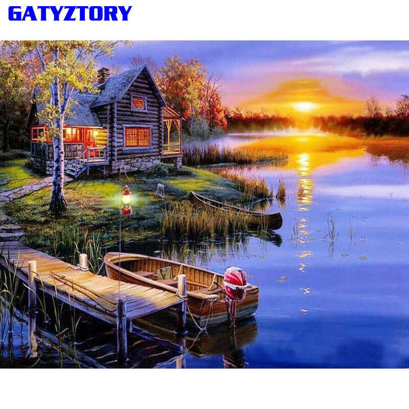 GATYZTORY Sunset Village DIY Painting By Numbers Kit Modern Wall Art Picture Hand Painted Oil Painting For Home Decor Artworks