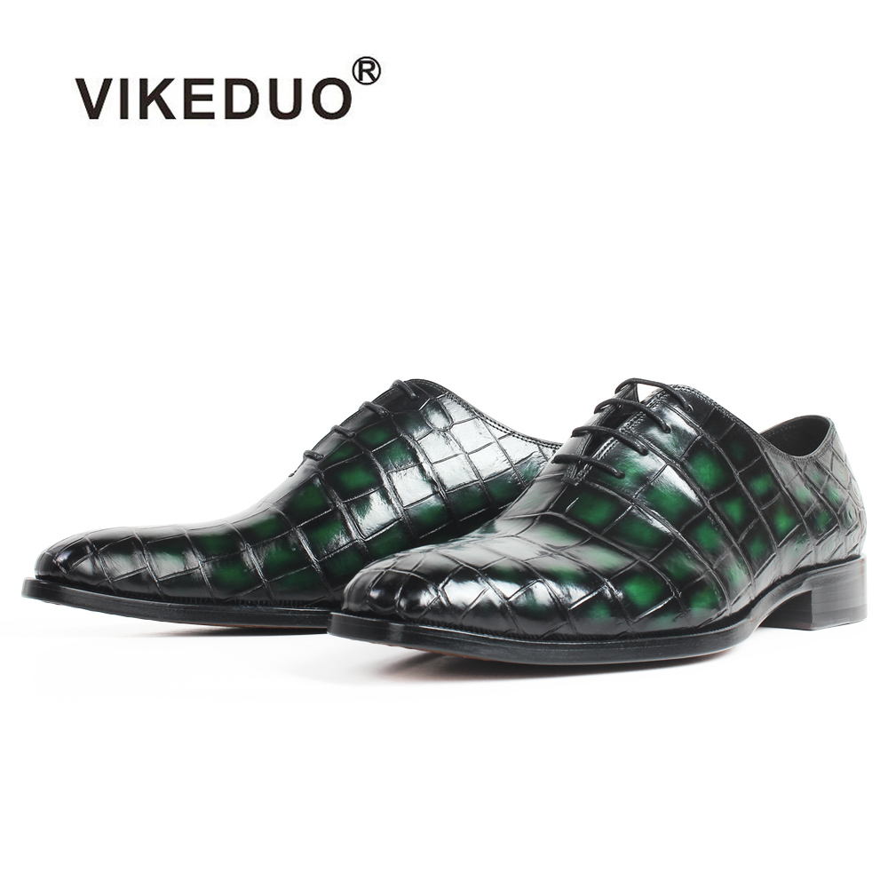 VIKEDUO Patina Green 100% Crocodile Leather Shoes Men Wedding Office Square Toe Leather Sole Handmade Oxford Dress Shoes ZapatosVIKEDUO Patina Green 100% Crocodile Leather Shoes Men Wedding Office Square Toe Leather Sole Handmade Oxford Dress Shoes Zapatos