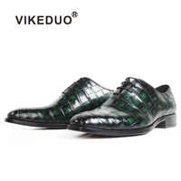 VIKEDUO Patina Green 100% Crocodile Leather Shoes Men Wedding Office Square Toe Leather Sole Handmade Oxford Dress Shoes Zapatos
