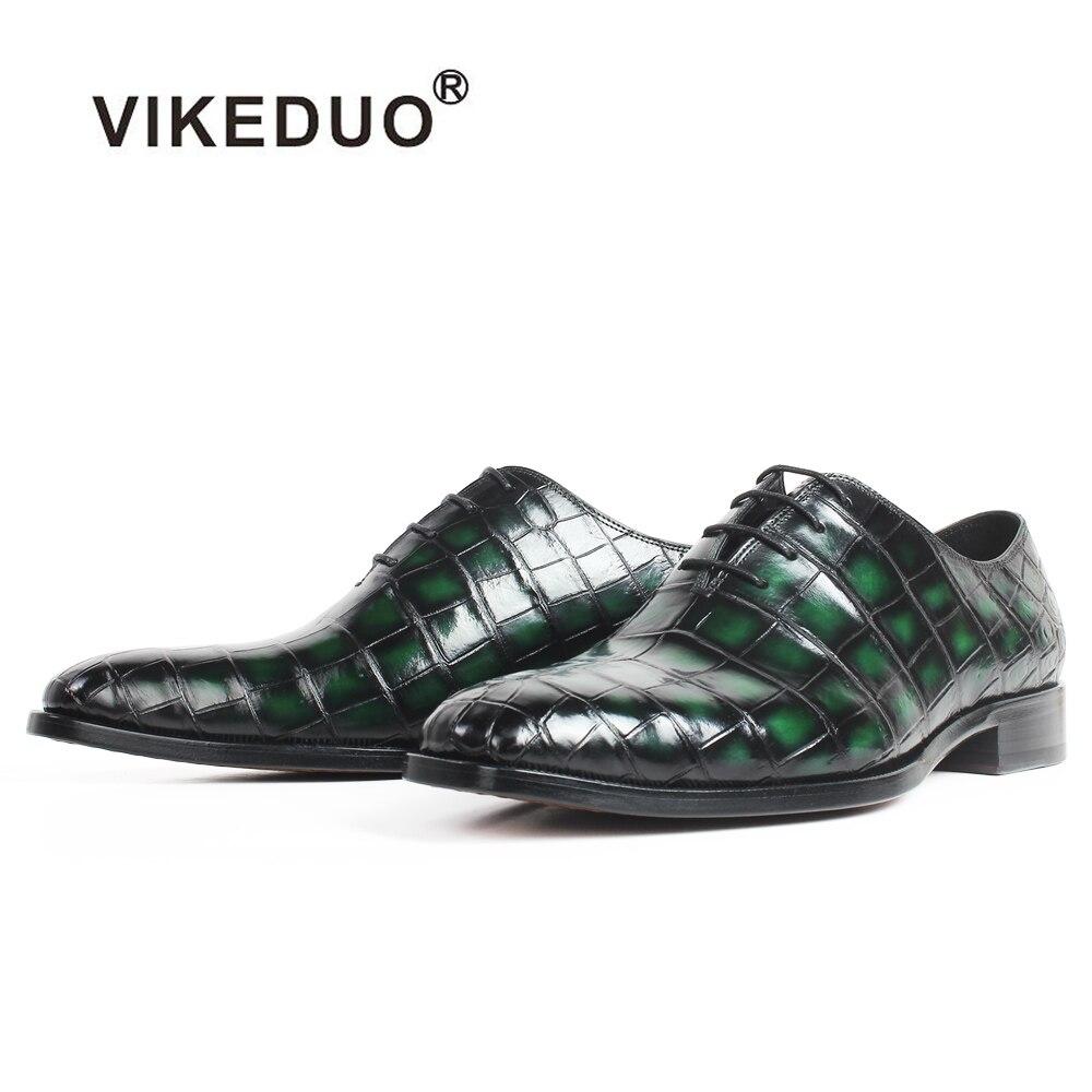 VIKEDUO patine vert 100% Crocodile cuir chaussures hommes de mariage bureau bout carré en cuir semelle à la main Oxford robe chaussures Zapatos