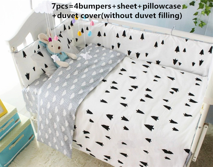 Promotion! 6/7PCS With Filler Baby bedding set grey bedding set for Newborn baby set, 120*60/120*70cm