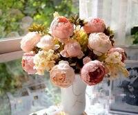 HIGHT Quality Silk Flower European 1 Bouquet Artificial Flowers Fall Vivid Peony Fake Leaf Wedding Home