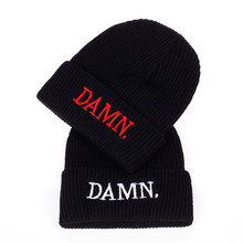 35e5a162375ee DAMN Hats for men and woman Embroidered DAMN. Warm hat Hip Hop Stitched  Kendrick lamar Unstructured Rapper Beanies cap hats